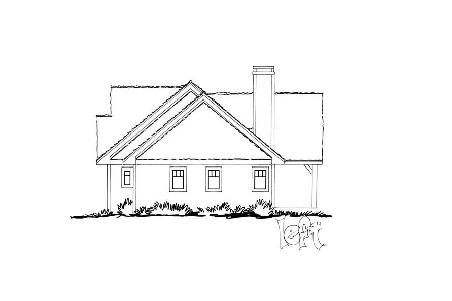 Home Plan Left Elevation of this 3-Bedroom,1416 Sq Ft Plan -205-1017