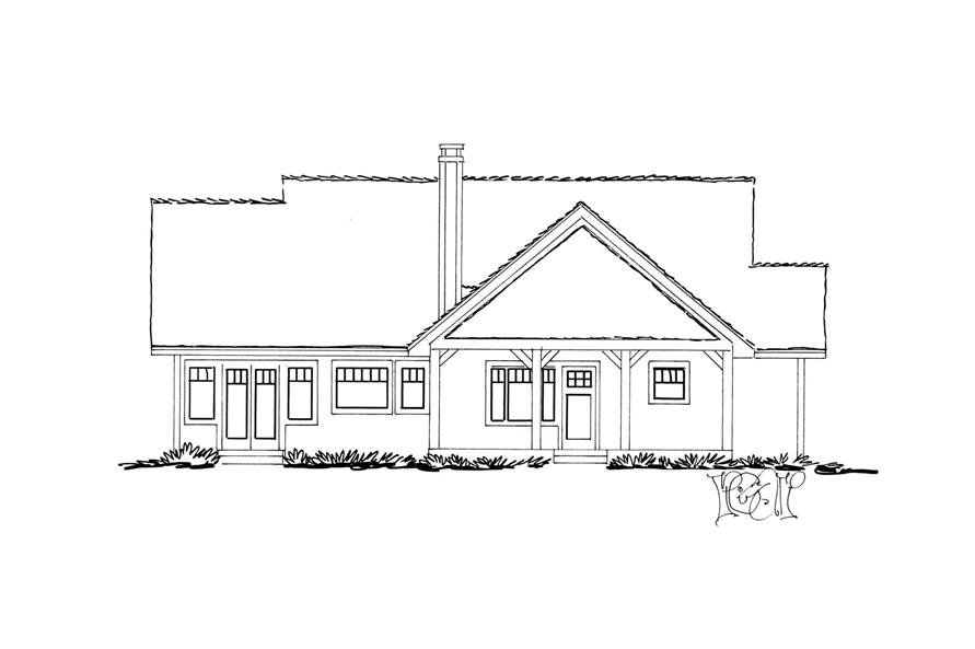 Home Plan Rear Elevation of this 3-Bedroom,1416 Sq Ft Plan -205-1017