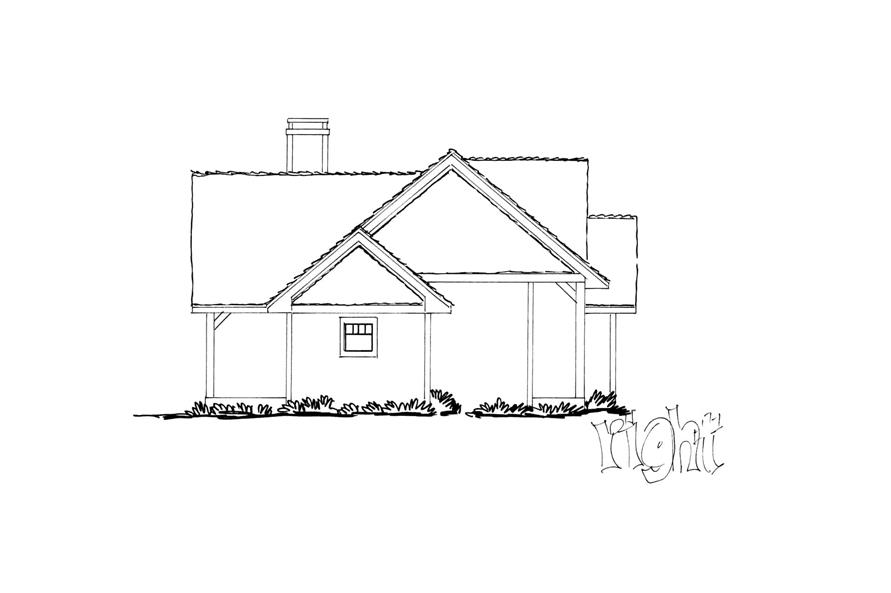 Home Plan Right Elevation of this 3-Bedroom,1416 Sq Ft Plan -205-1017