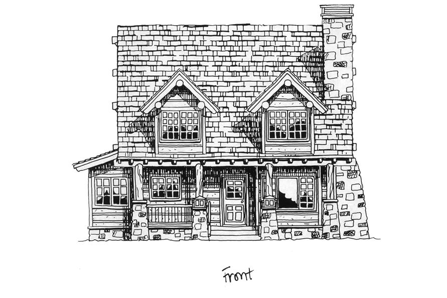 Home Plan Front Elevation of this 2-Bedroom,1362 Sq Ft Plan -205-1018