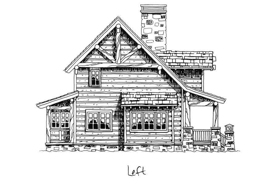 Home Plan Left Elevation of this 2-Bedroom,1362 Sq Ft Plan -205-1018