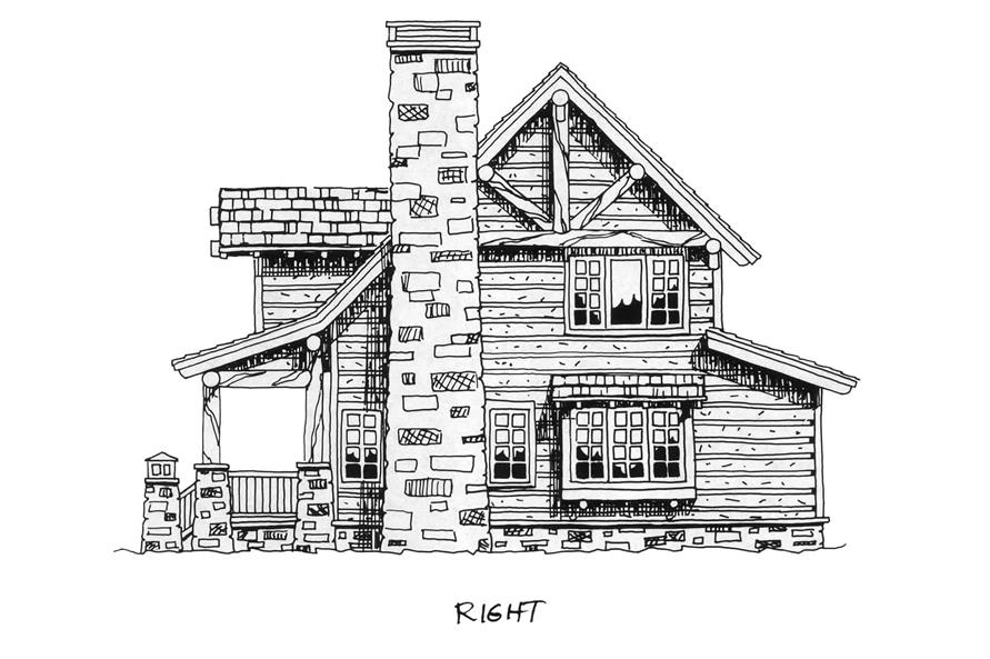 Home Plan Right Elevation of this 2-Bedroom,1362 Sq Ft Plan -205-1018