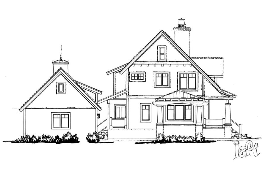 Home Plan Left Elevation of this 3-Bedroom,1825 Sq Ft Plan -205-1020