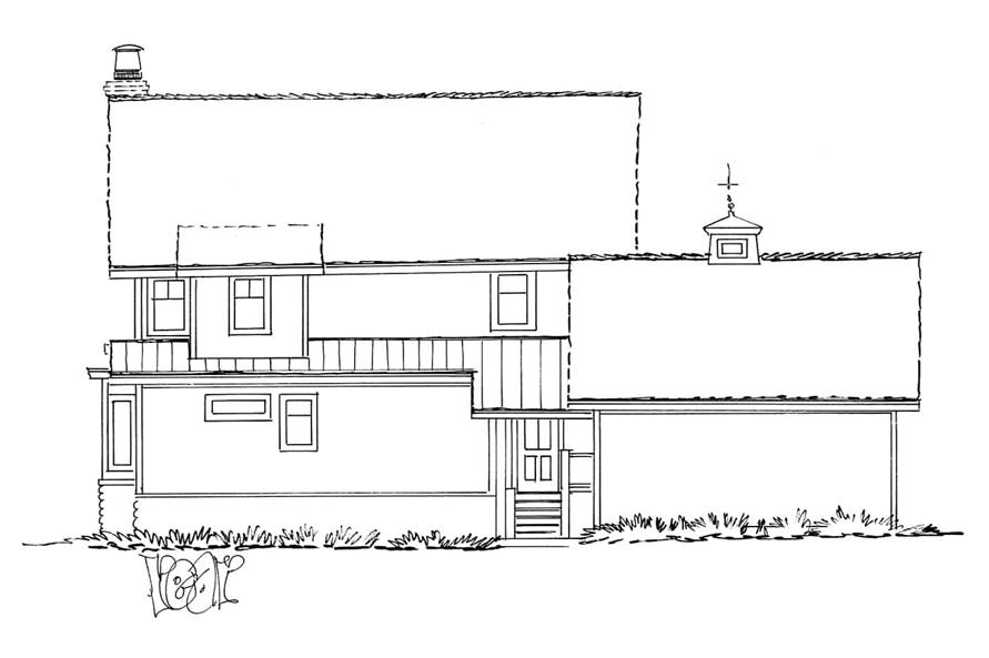 Home Plan Rear Elevation of this 3-Bedroom,1825 Sq Ft Plan -205-1020