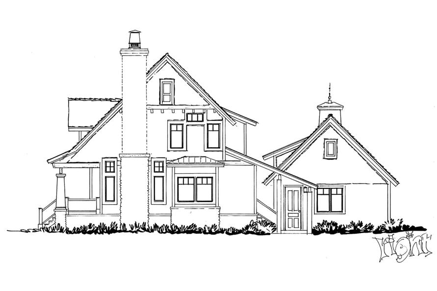 Home Plan Right Elevation of this 3-Bedroom,1825 Sq Ft Plan -205-1020