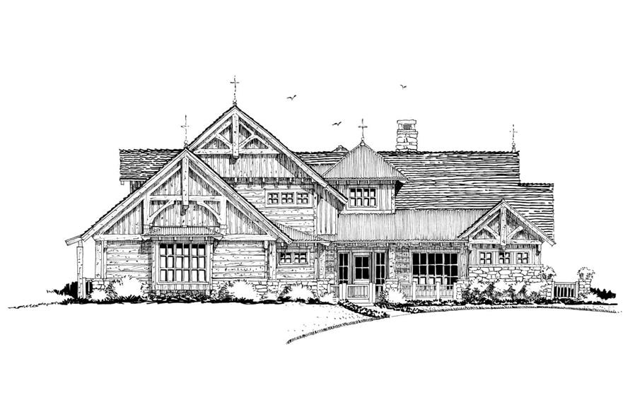 Home Plan Front Elevation of this 4-Bedroom,4960 Sq Ft Plan -205-1021