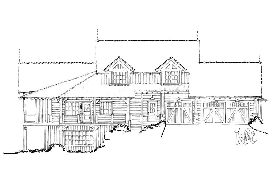 Home Plan Left Elevation of this 4-Bedroom,4960 Sq Ft Plan -205-1021