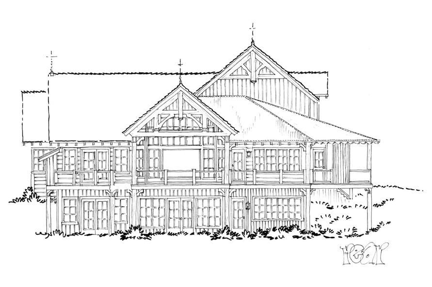 Home Plan Rear Elevation of this 4-Bedroom,4960 Sq Ft Plan -205-1021