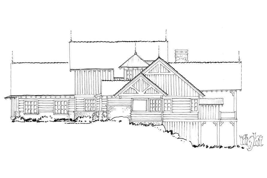 Home Plan Right Elevation of this 4-Bedroom,4960 Sq Ft Plan -205-1021