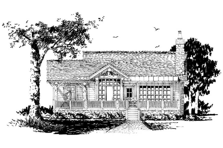 Home Plan Front Elevation of this 2-Bedroom,1065 Sq Ft Plan -205-1022