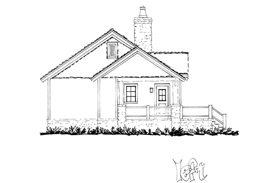 Home Plan Left Elevation of this 2-Bedroom,1065 Sq Ft Plan -205-1022