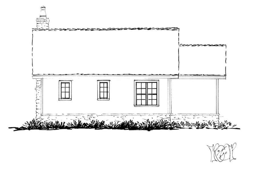 Home Plan Rear Elevation of this 2-Bedroom,1065 Sq Ft Plan -205-1022
