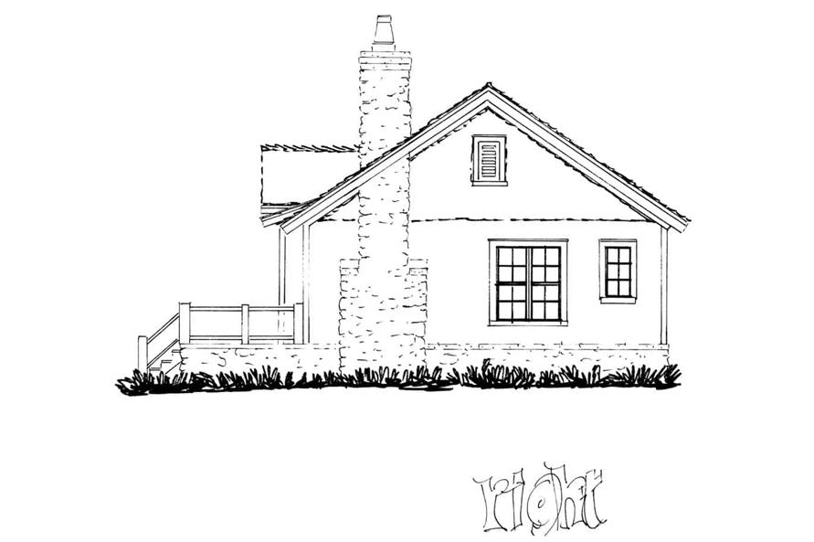 Home Plan Right Elevation of this 2-Bedroom,1065 Sq Ft Plan -205-1022