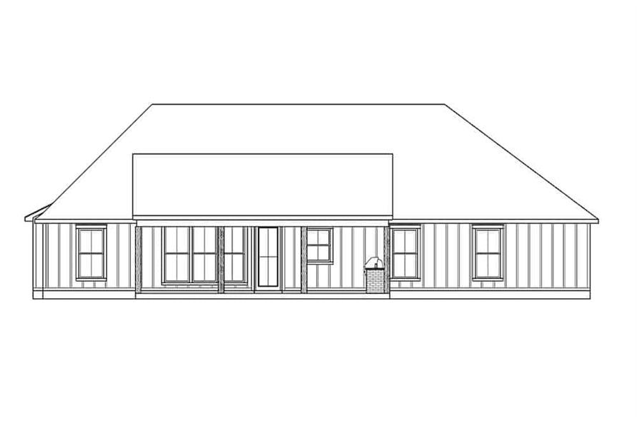 Home Plan Rear Elevation of this 4-Bedroom,1889 Sq Ft Plan -206-1004