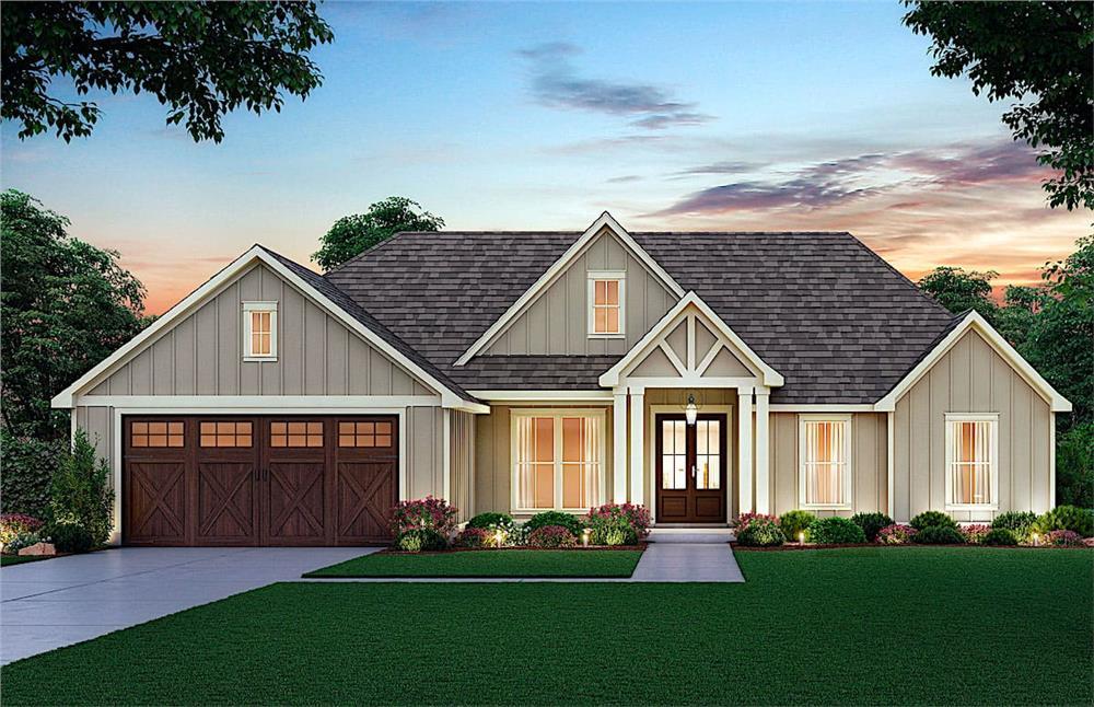 Contemporary Ranch home (ThePlanCollection: Plan #206-1004)