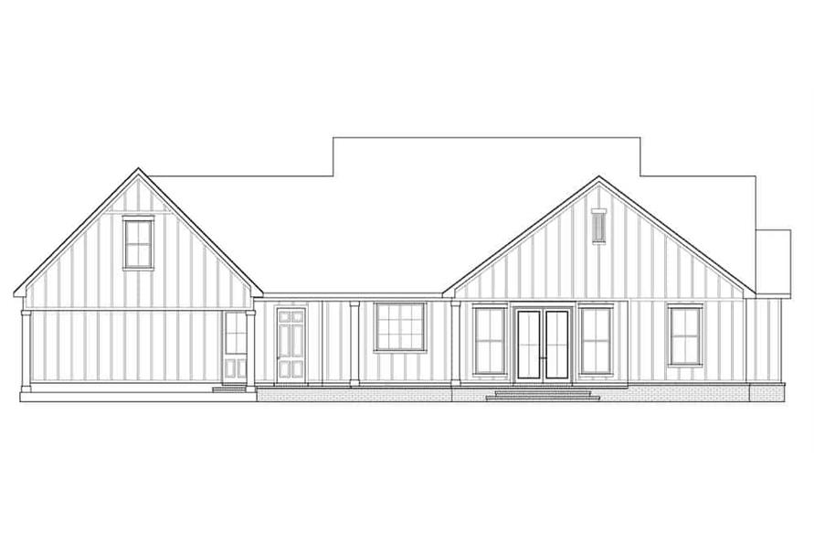 Home Plan Rear Elevation of this 3-Bedroom,2535 Sq Ft Plan -206-1007