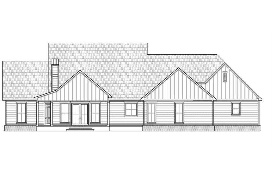 Home Plan Rear Elevation of this 5-Bedroom,2705 Sq Ft Plan -206-1015