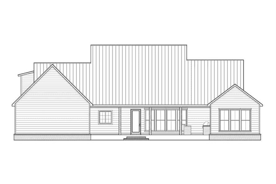 Home Plan Rear Elevation of this 3-Bedroom,2909 Sq Ft Plan -206-1018
