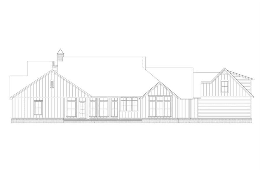 Home Plan Rear Elevation of this 4-Bedroom,3585 Sq Ft Plan -206-1020