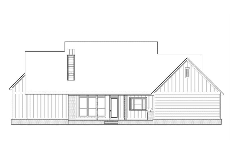 Home Plan Rear Elevation of this 4-Bedroom,2400 Sq Ft Plan -206-1023