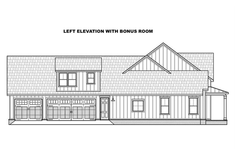 Home Plan Left Elevation of this 4-Bedroom,2400 Sq Ft Plan -206-1023
