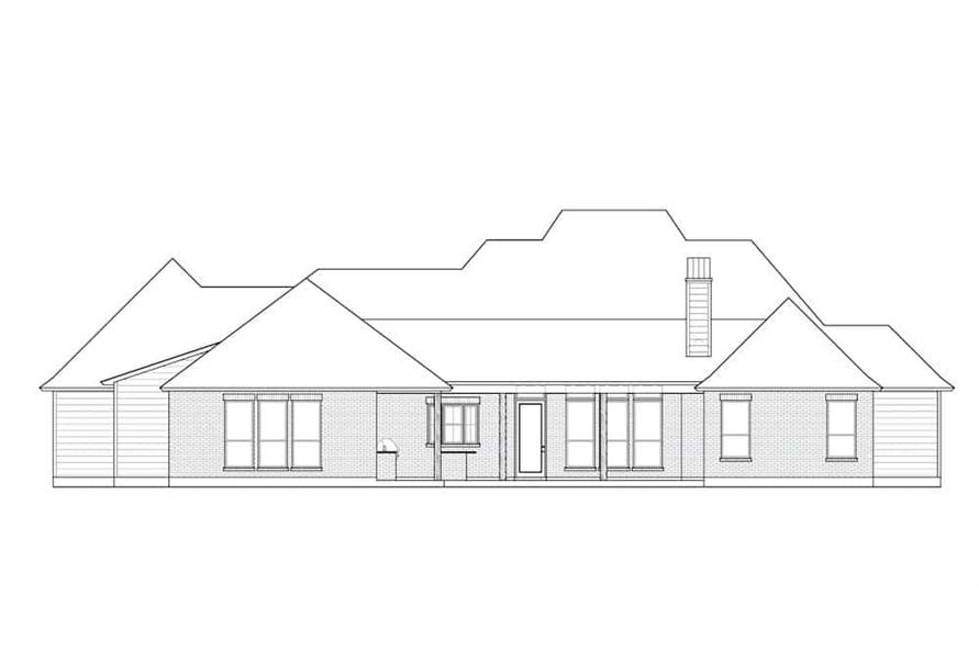 Home Plan Rear Elevation of this 4-Bedroom,3175 Sq Ft Plan -206-1025