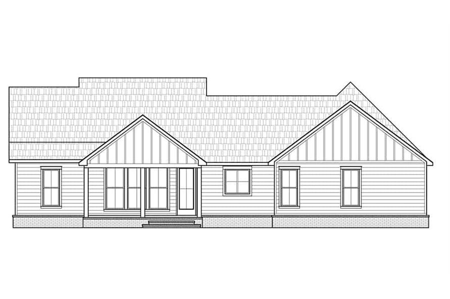 Home Plan Rear Elevation of this 3-Bedroom,1777 Sq Ft Plan -206-1026