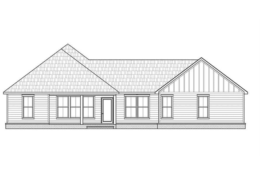 Home Plan Rear Elevation of this 3-Bedroom,1474 Sq Ft Plan -206-1027