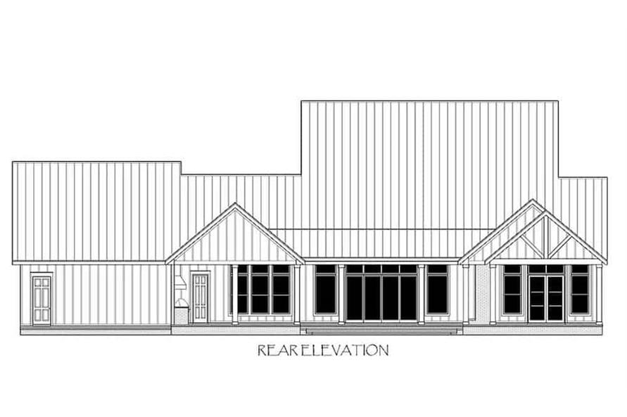 Home Plan Rear Elevation of this 4-Bedroom,4103 Sq Ft Plan -206-1028