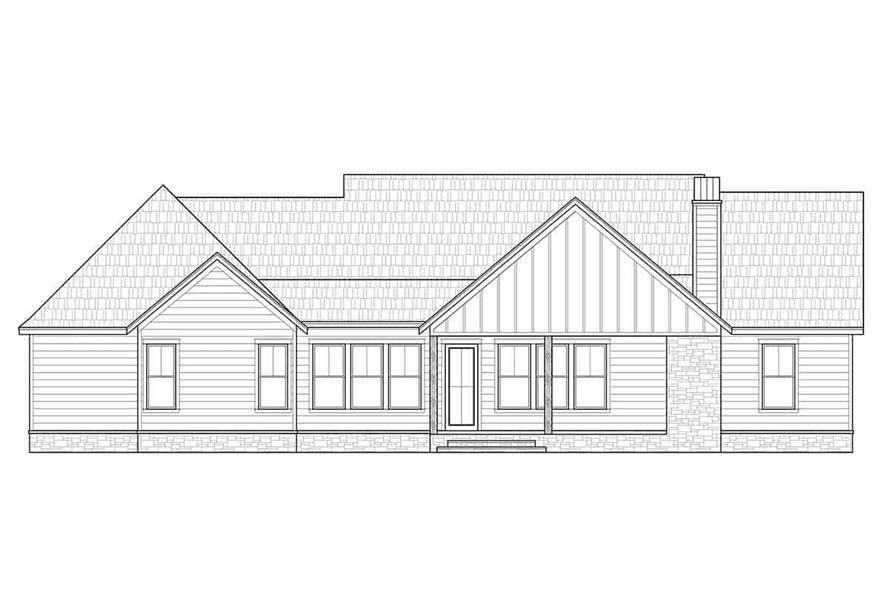 Home Plan Rear Elevation of this 4-Bedroom,2300 Sq Ft Plan -206-1030