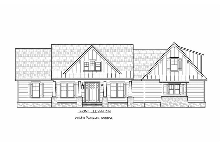 Home Plan Front Elevation of this 4-Bedroom,2300 Sq Ft Plan -206-1030