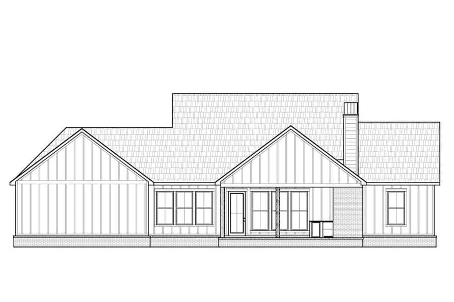 Home Plan Rear Elevation of this 4-Bedroom,2232 Sq Ft Plan -206-1034