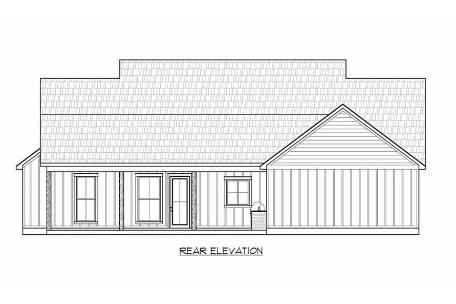 Home Plan Rear Elevation of this 3-Bedroom,1924 Sq Ft Plan -206-1045