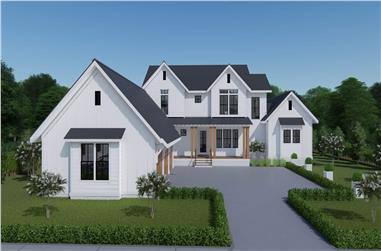 4-Bedroom, 3409 Sq Ft Farmhouse Home - Plan #207-1003 - Front Exterior