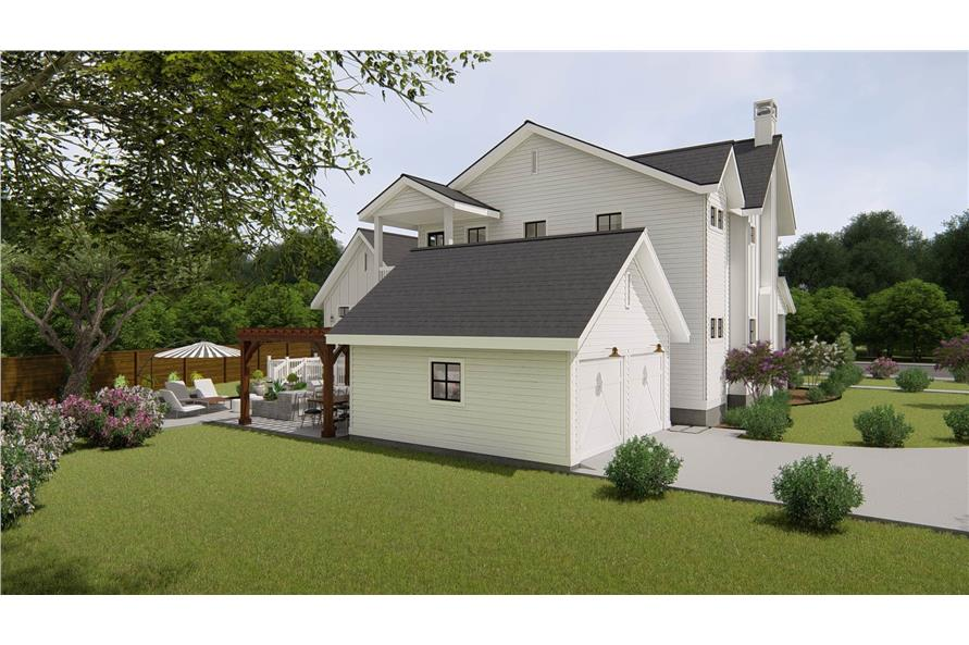 Rear View of this 4-Bedroom,3328 Sq Ft Plan -207-1004