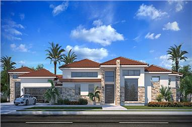 4-Bedroom, 3990 Sq Ft Mediterranean Home - Plan #208-1000 - Main Exterior