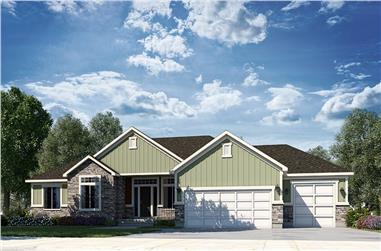 3–5-Bedroom, 2403 Sq Ft Contemporary Ranch - Plan #208-1006 - Front Exterior