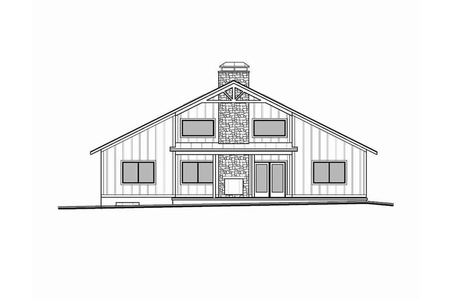 Home Plan Rear Elevation of this 3-Bedroom,2838 Sq Ft Plan -208-1007
