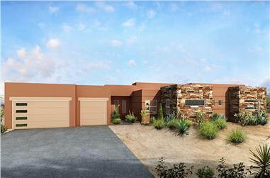 4-Bedroom, 2210 Sq Ft Modern House - Plan #208-1008 - Front Exterior