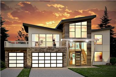 4-Bedroom, 3526 Sq Ft Mid-Century Modern House - Plan #208-1018 - Front Exterior