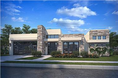 4-Bedroom, 2621 Sq Ft Modern House - Plan #208-1025 - Front Exterior