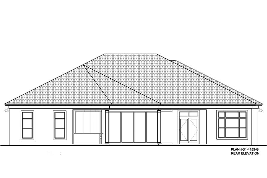 Home Plan Rear Elevation of this 4-Bedroom,4155 Sq Ft Plan -210-1001