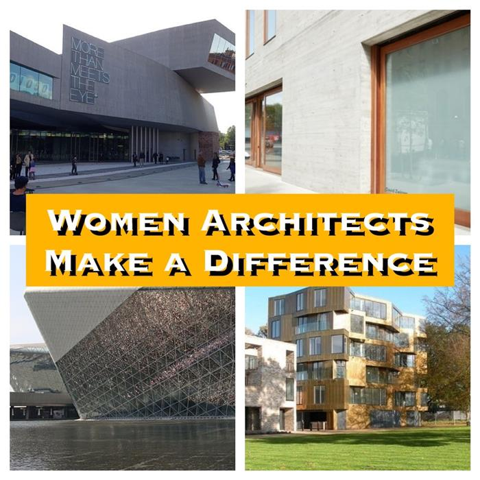 Montage of 4 photographs illustrating article on women in architecture