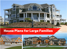 Montage of 3 photographs illustrating article about multigenerational house plans