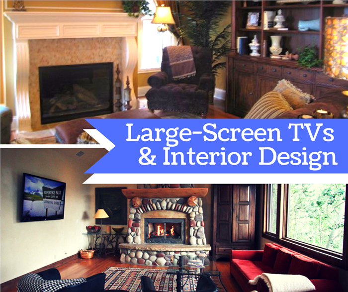 Montage of 2 photos illustrating article on designing a room with a large-screen TV