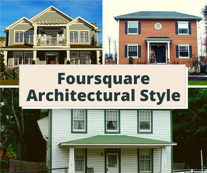 Three Foursquare design homes illustrating article on Foursquare architectural style