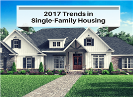 Photograph of single-family home illustrating article on construction trends