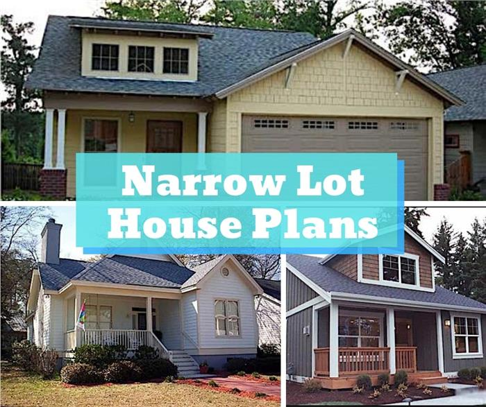 Montage of 3 homes illustrating article on narrow lot house