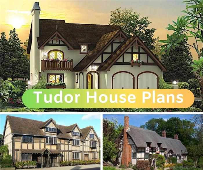 Montage of 3 Tudor style homes with illustrating article on Tudor houses