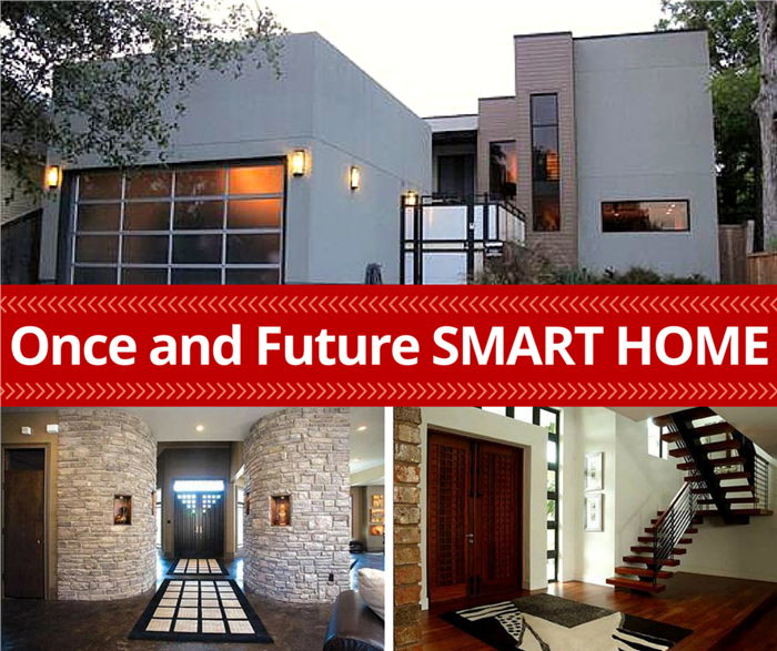3 photos of modern home interiors and exterior to illustrate article on Smart Home Technology